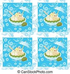 Seamless, Ice Cream and Floral Pattern - Seamless...