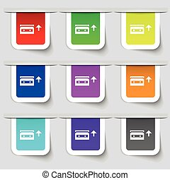 audio cassette icon sign. Set of multicolored modern labels for your design. Vector