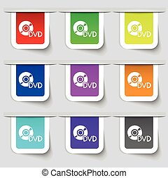 dvd icon sign. Set of multicolored modern labels for your...