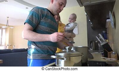 family prepare dinner