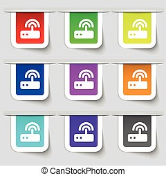 Wi fi router icon sign Set of multicolored modern labels for...