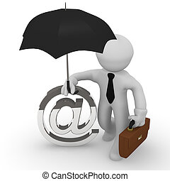 mail protection - 3d business man with an umbrella, web or...