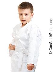 Karate boy at stance