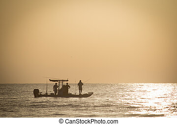 Fishing in Early Morning - Fishing in early morning off the...