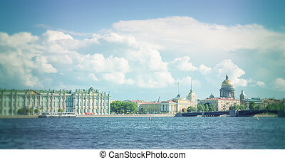 St. Petersburg. View on the Saint Isaac's Cathedral, the Admiralty and Winter Palace