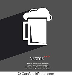 glass of beer icon symbol Flat modern web design with long shadow and space for your text. Vector