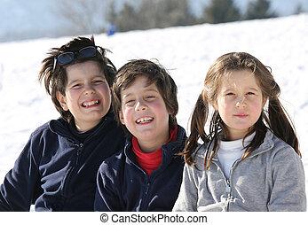 invierno, tres, hermanos, retrato, sonriente, caucásico