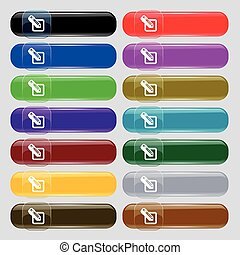 pencil icon sign Big set of 16 colorful modern buttons for...