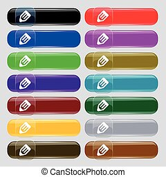 pencil icon sign. Big set of 16 colorful modern buttons for...