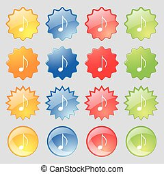 musical note, music, ringtone icon sign Set from fourteen...