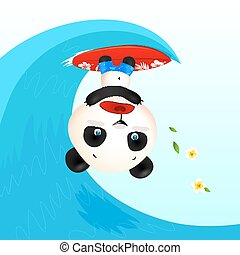 Little cute panic surfer panda in wave tube, vector...
