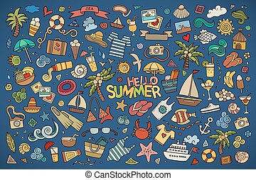 Summer beach symbols and objects