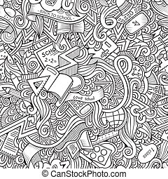 Cartoon vector doodles school seamless pattern - Cartoon...