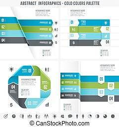 Cold Colors Abstract Infographics set 2