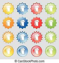 glass of beer icon sign. Set from fourteen multi-colored glass buttons with place for text. Vector