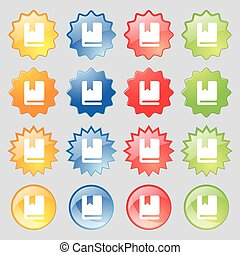 bookmark icon sign. Set from fourteen multi-colored glass buttons with place for text. Vector