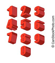 Set 3D red numbers vector set. Zero to ten. Vector illustration