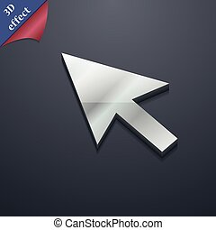 arrow cursor, computer mouse icon symbol. 3D style. Trendy, modern design with space for your text Vector