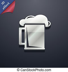 glass of beer icon symbol. 3D style. Trendy, modern design with space for your text Vector