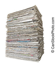 A pile of newspapers on a white background