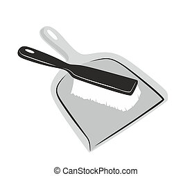 dustpan - simplified illustration of a dustpan with brush