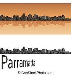 Parramatta skyline in orange background in editable vector...