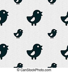 chicken, Bird icon sign Seamless pattern with geometric...
