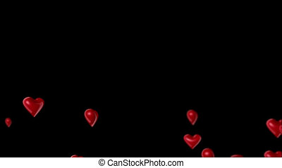 Hearts on black background down-up transition