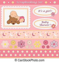 Scrapbooking set for baby girl. Design elements for your...