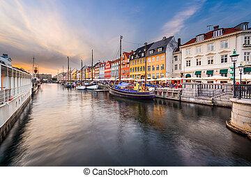 Copenhagen Cityscape - Nyhavn Canal in Copenhagen, Demark.