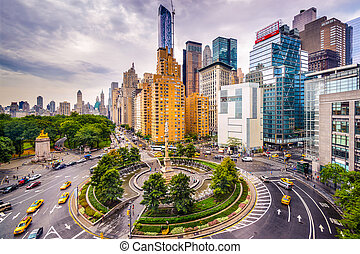 Columbus Circle - New York City, USA cityscape at Columbus...