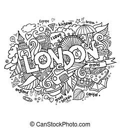 London hand lettering and doodles elements background....