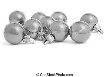 Mono Baubles - Small Christmas baubles in high key mono with...