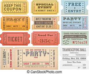 Vector Grunge Colorful Tickets Templates