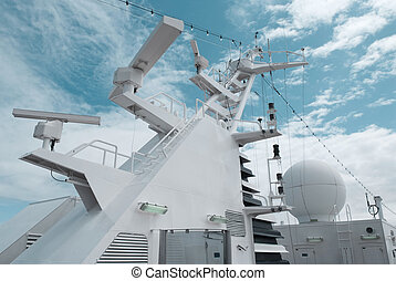 Satellite communication antenna on the top of large...
