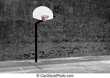 Urban Basketball Hoop Inner City Wall and Asphalt - Detail...