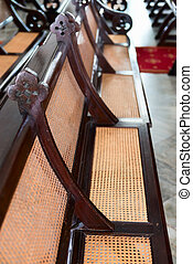 Antique Wood and Wicker Church Pews - Beautiful, antique,...