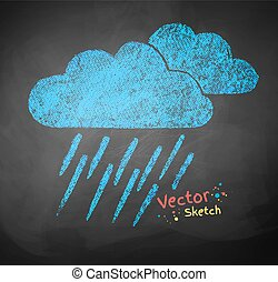 Rainy clouds - Color chalked vector illustration of rainy...