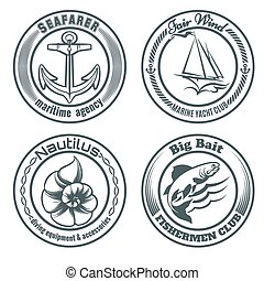 Nautical Stamps Set - Set of vintage nautical stamps or...
