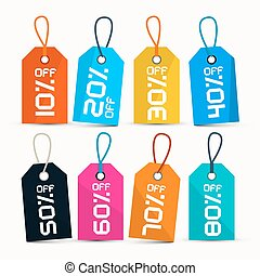 Paper 10% off, 20% off, 30% off, 40% off, 50% off, 60% off, 70% off, 80% off, Labels - Tags with String