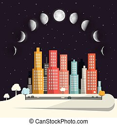 Moon Phases above Night City Flat Design Abstract Vector Illustration