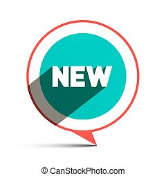 New Title in Circle - Vector Flat Design Label Isolated on White Background