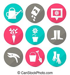 Vector Gardening Icons - Tools Set in Retro Style - Flat Design Circles Isolated on White Background