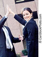 successful business team - a successful business team giving...