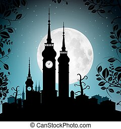 Full Moon Vector Illustration with Town Silhouette - Houses and Towers Cityscape