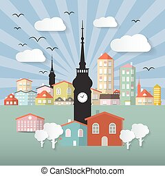 Abstract Vector Paper Cut Flat Design Town or City Illustration with Tower and Retro Background