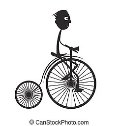 Man on Old Bicycle - Bike Vector Illustration