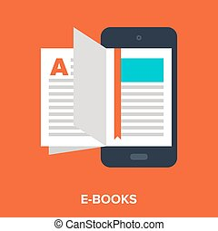 e-books - Abstract vector illustration of e-books flat...