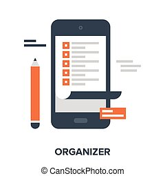 organizer - Abstract vector illustration of organizer flat...