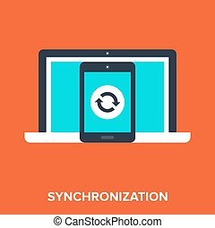 synchronization - Abstract vector illustration of...